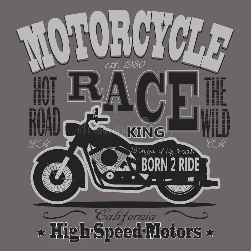 Motocicleta que compete gráficos da tipografia califórnia ilustração royalty free