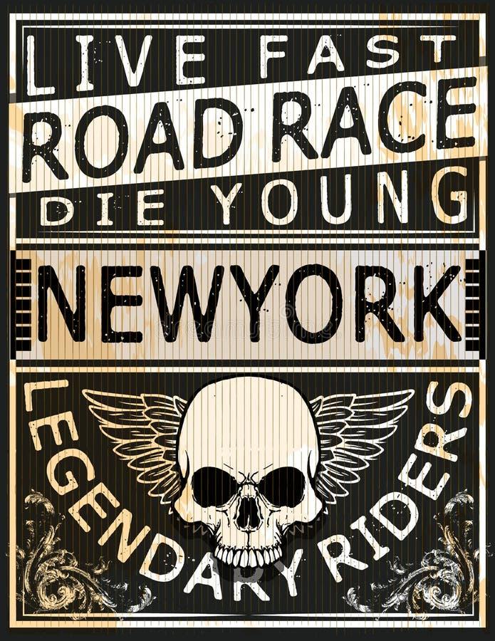 Motocicleta que compete gráficos e cartaz da tipografia Crânio e velho ilustração stock