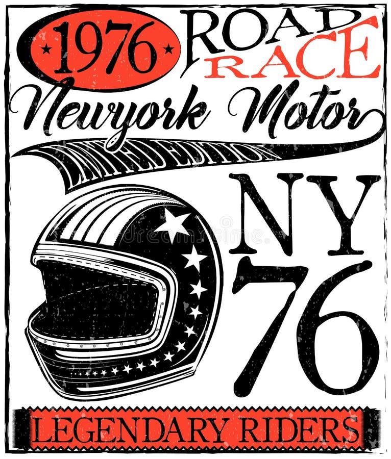 Motocicleta que compite con gráficos y el cartel de la tipografía Casco y viejo stock de ilustración