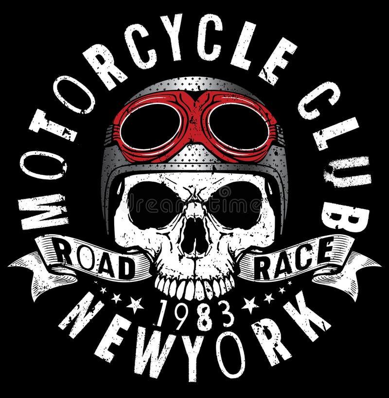 Motocicleta que compite con gráficos y el cartel de la tipografía Cráneo y viejo stock de ilustración