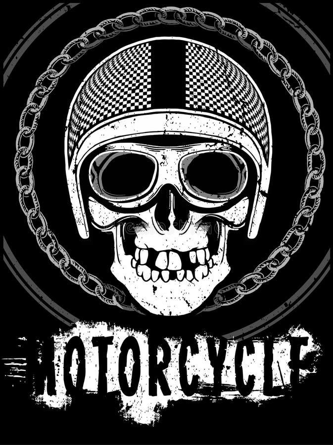 Motocicleta que compite con gráficos y el cartel de la tipografía Cráneo y viejo ilustración del vector