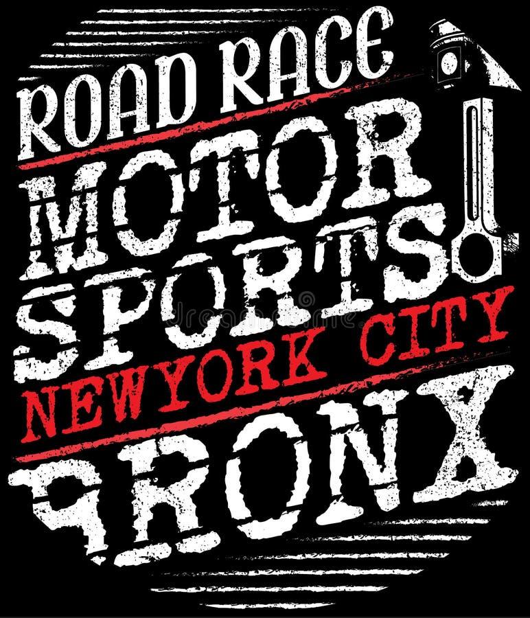 Motocicleta que compite con gráficos y el cartel de la tipografía Cráneo y viejo libre illustration