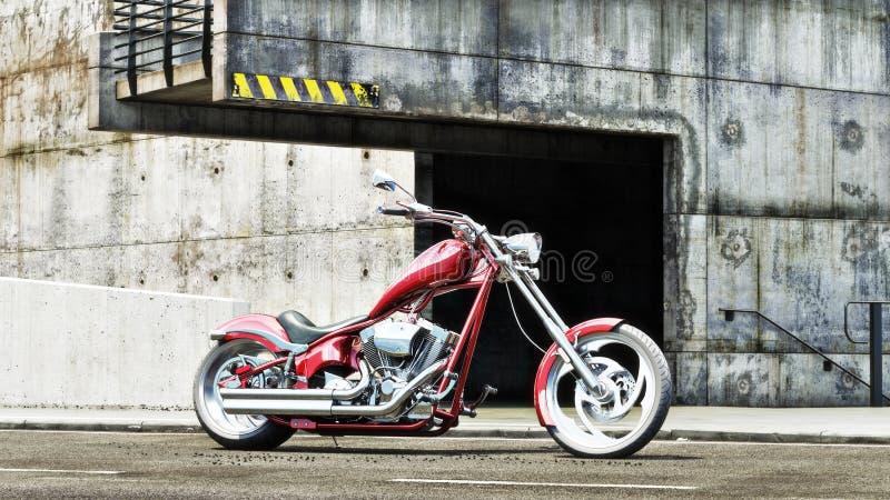 Motocicleta roja de encargo con un fondo industrial del grunge ilustración del vector