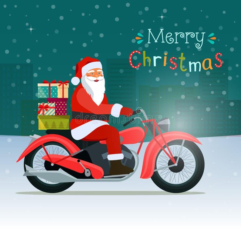 Motocicleta roja retra con las cajas de Papá Noel y de regalo Feliz Navidad libre illustration
