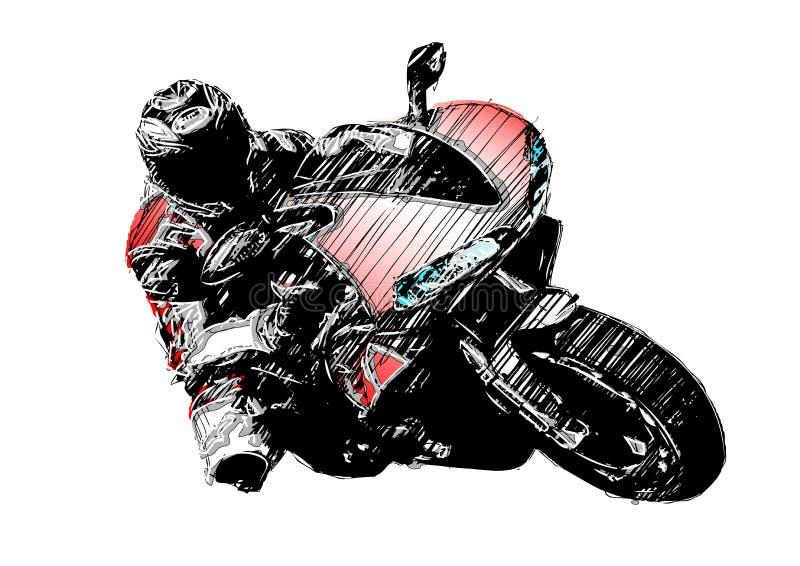 Motocicleta vermelha ilustração do vetor