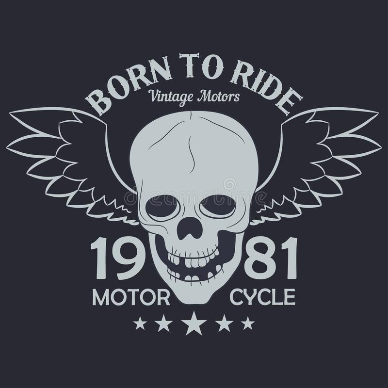 A motocicleta veste gráficos Crânio com asas Fato do vintage do piloto ilustração do vetor