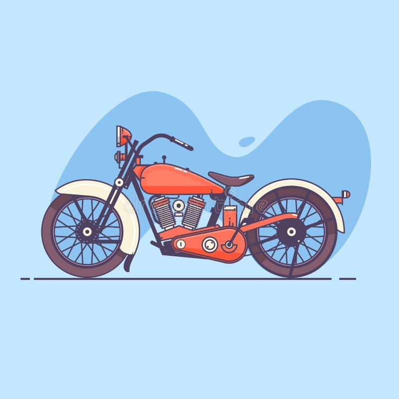 Motocicleta vieja de la vendimia stock de ilustración