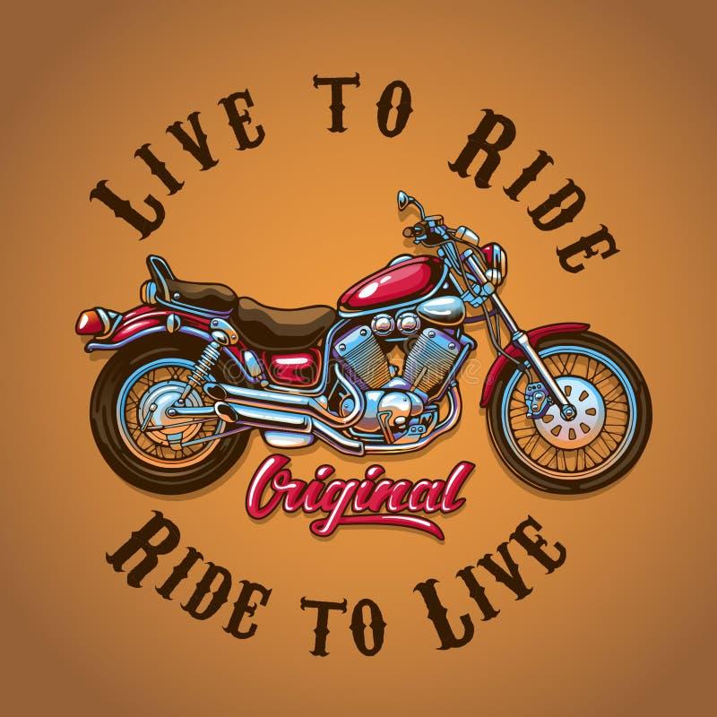 Motocicleta viva para montar para a cópia do t-shirt ilustração stock