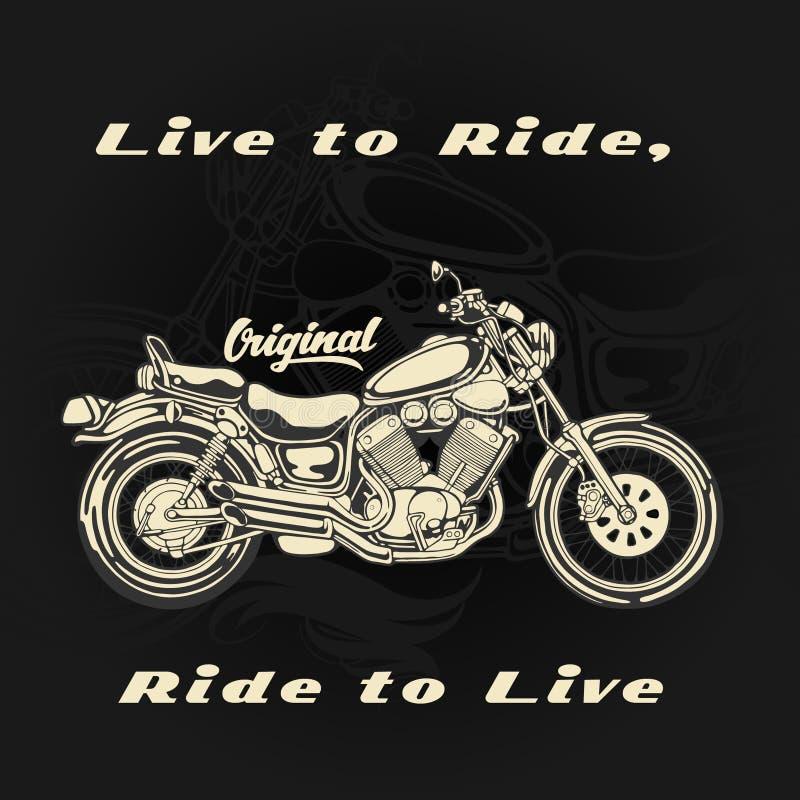 Motocicleta viva para montar para a cópia do t-shirt ilustração do vetor