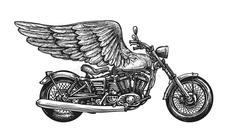 Motocicleta y alas, bosquejo Ejemplo del vector del vintage libre illustration