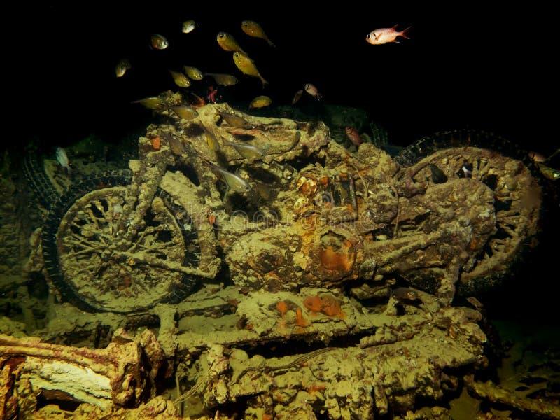 Motocicletas de la ruina de los SS Thistlegorm foto de archivo