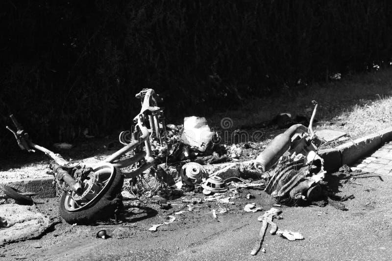 Motocicletta bruciata fotografia stock libera da diritti