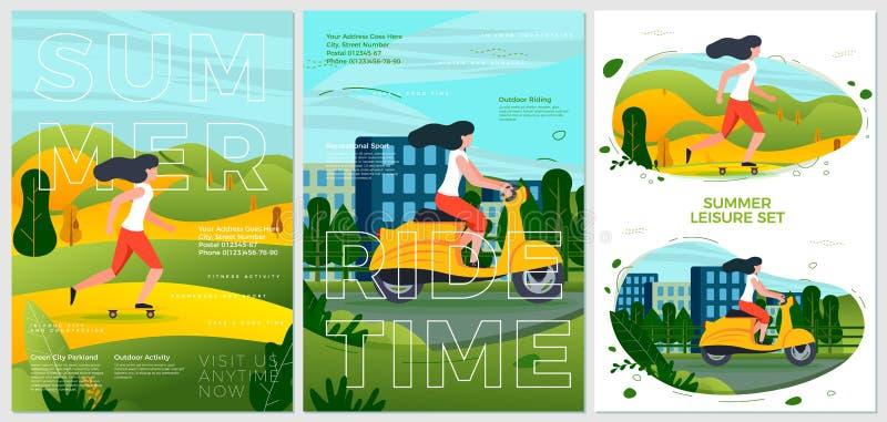 Motocicletta e rotolamento dei manifesti di sport di estate di vettore royalty illustrazione gratis