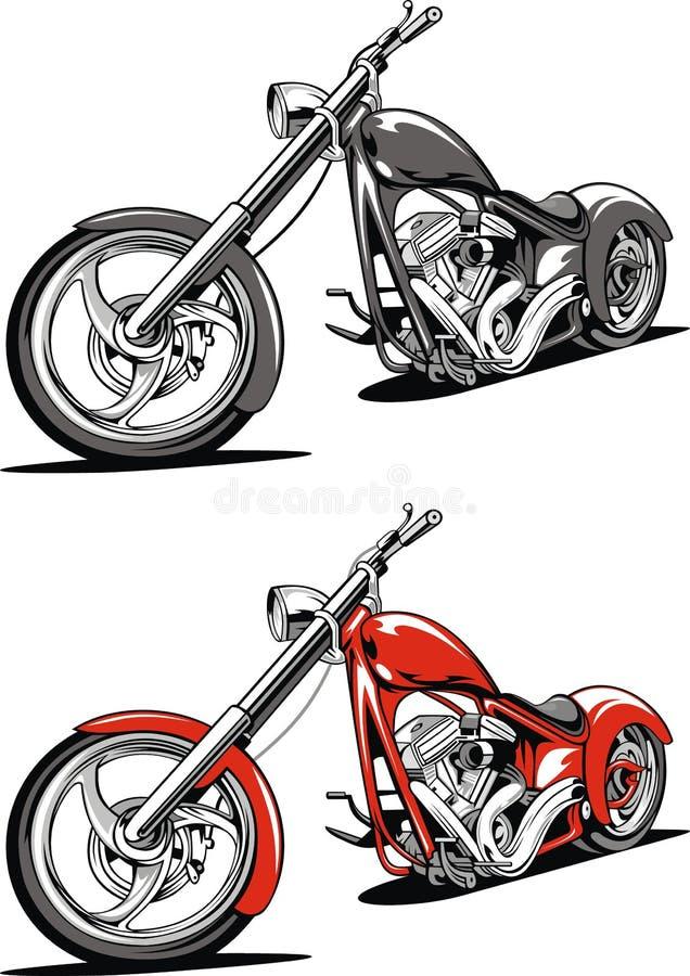 Motocicletta rossa isolata sui precedenti bianchi illustrazione vettoriale