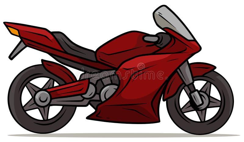 Motocicletta rossa moderna di sport del fumetto royalty illustrazione gratis