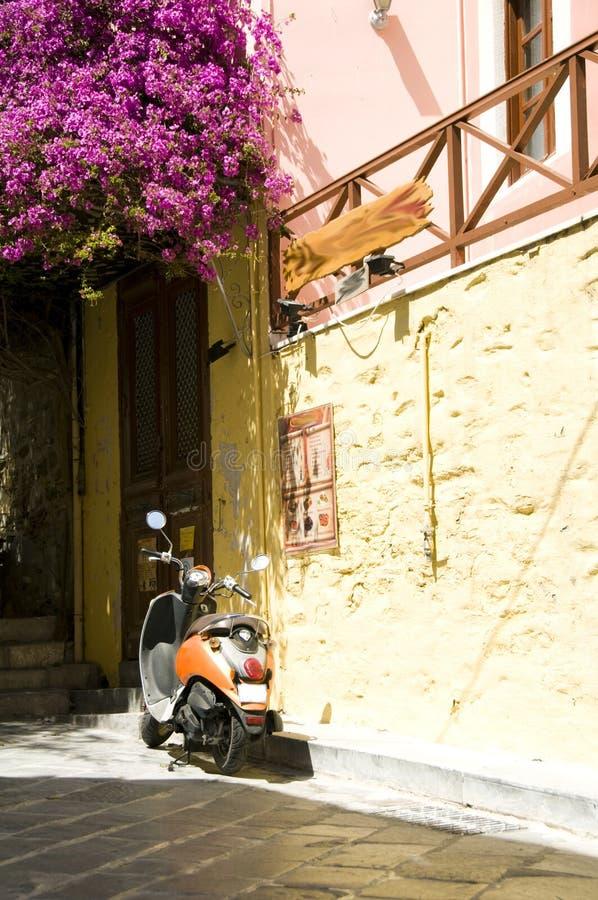 motocicletta Syros di scena della via fotografie stock