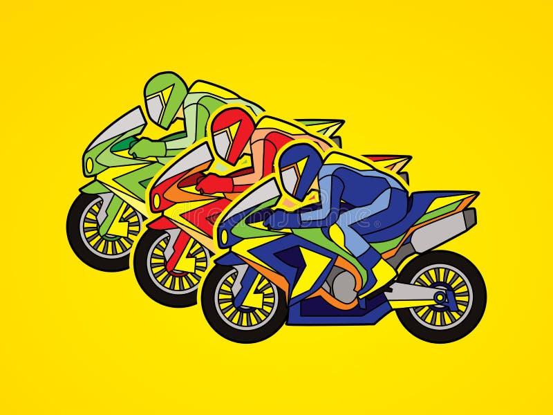 3 motocicli che corrono grafico illustrazione di stock