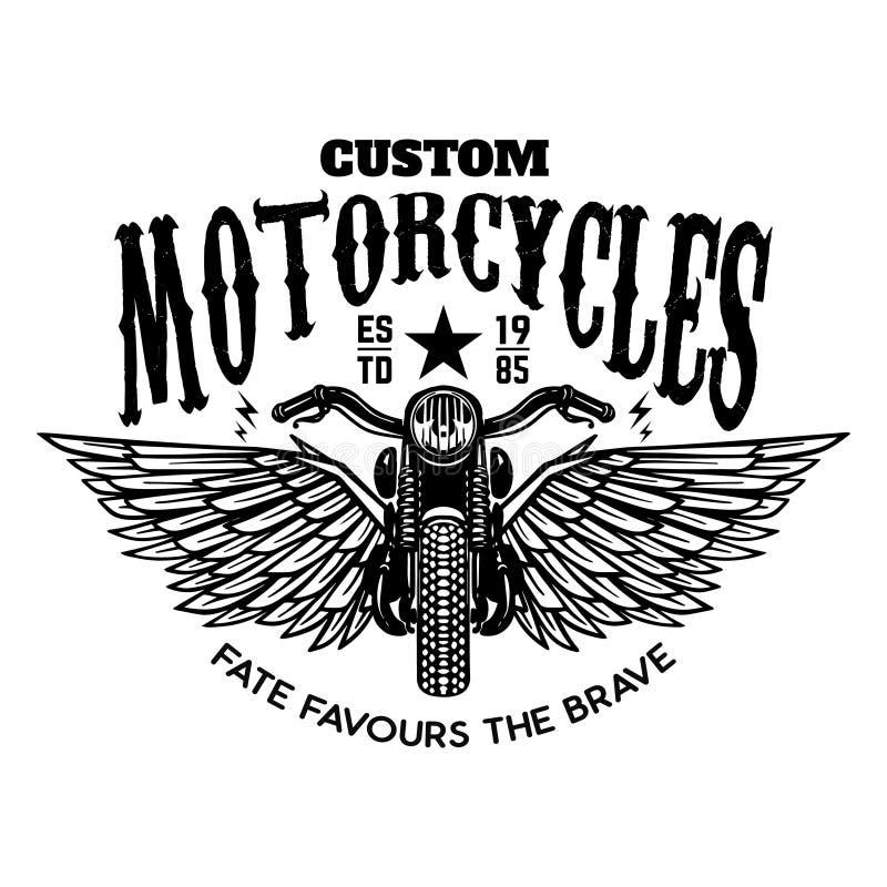 Motocicli su ordinazione Motocicletta alata su fondo bianco Progetti l'elemento per il logo, l'etichetta, l'emblema, il segno, ma illustrazione vettoriale