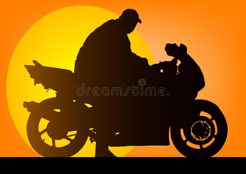 Motociclista illustrazione di stock