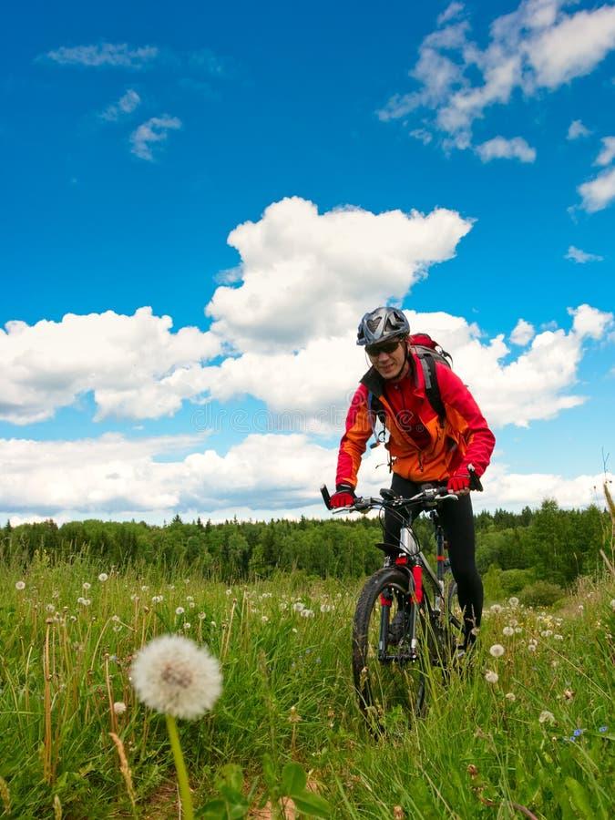 Motociclista através dos campos fotografia de stock