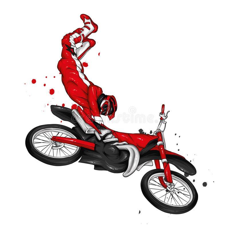 Motociclista che guida un motociclo d'annata Illustrazione di vettore, sport estremo fotografia stock