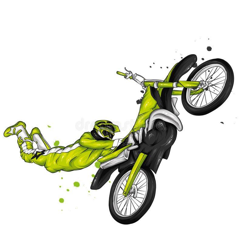 Motociclista che guida un motociclo d'annata Illustrazione di vettore, sport estremo fotografie stock