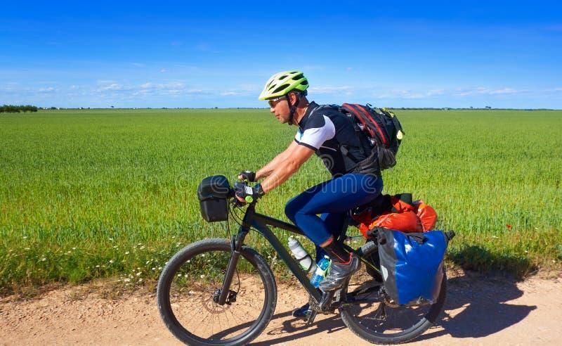 Motociclista da Camino de Santiago in bicicletta immagine stock