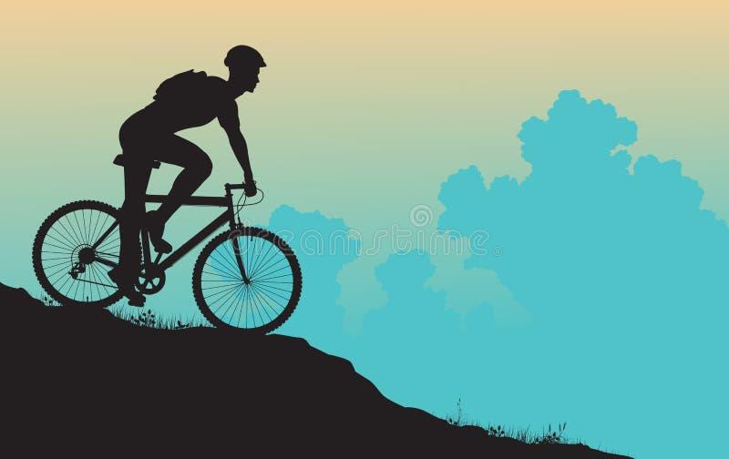 Motociclista da montanha ilustração royalty free