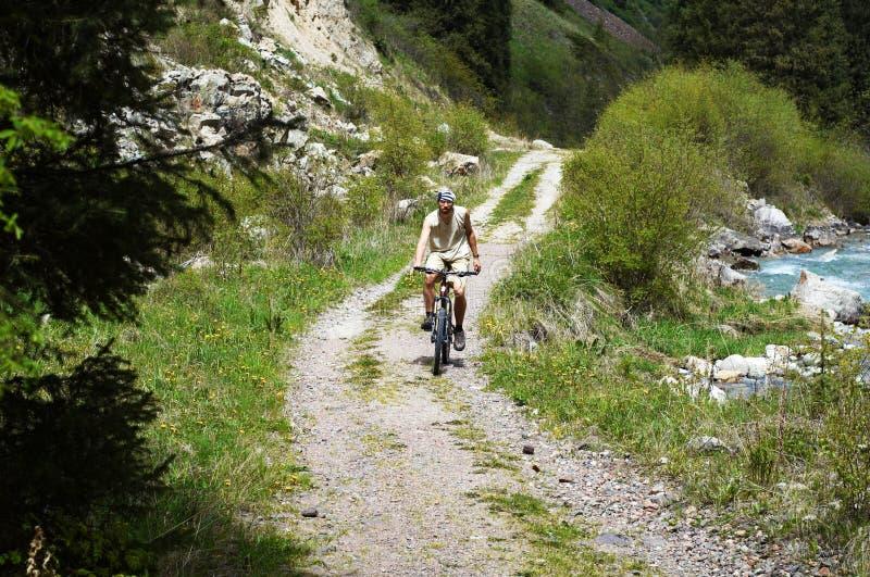 Motociclista da montanha na estrada rural na montanha foto de stock