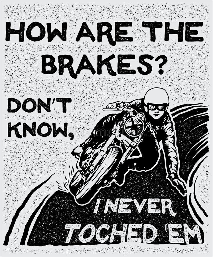 Motociclista da silhueta que conduz uma motocicleta ilustração royalty free