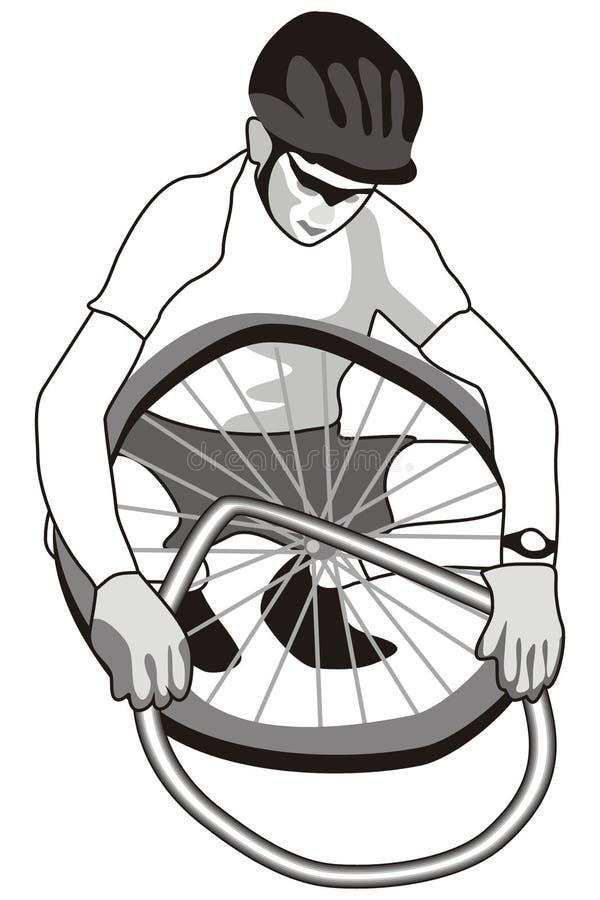Motociclista e gomma illustrazione di stock