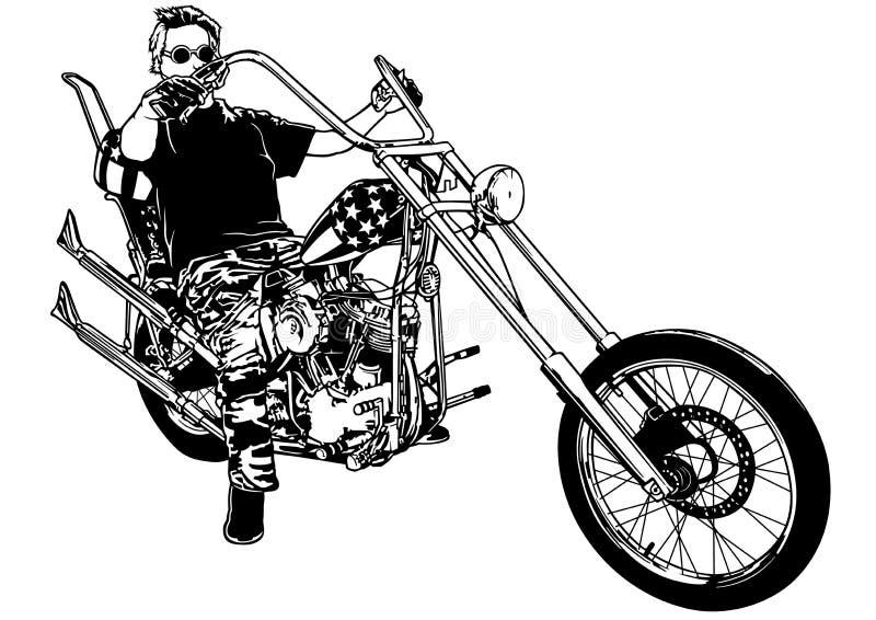Motociclista em motocicleta Chopper ilustração royalty free