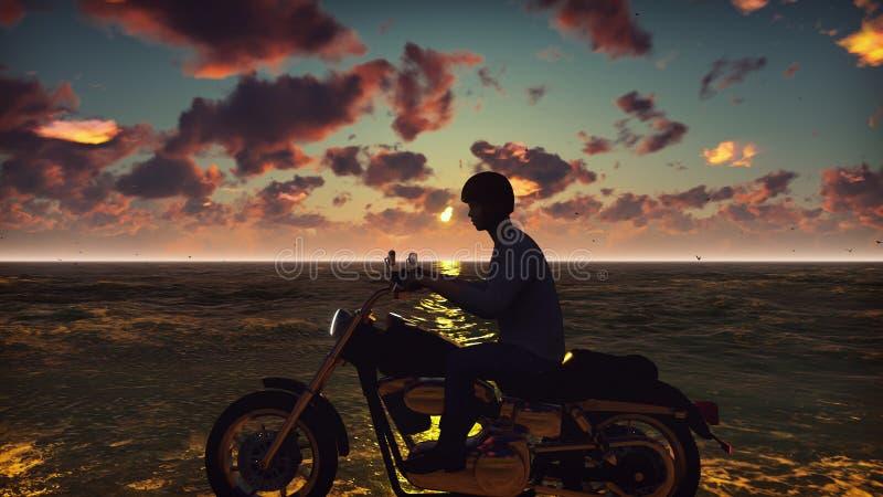Motociclista em um velomotor na praia contra o oceano, o céu, durante o por do sol Conceito do estilo de vida verão bonito foto de stock