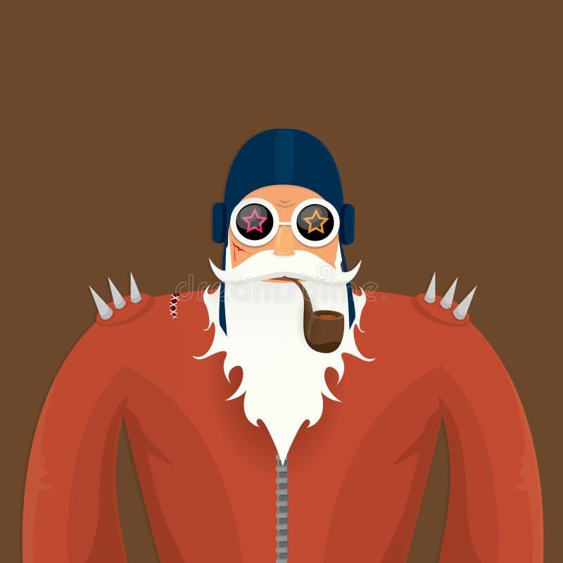 Motociclista il Babbo Natale di vettore con il tubo di fumo royalty illustrazione gratis