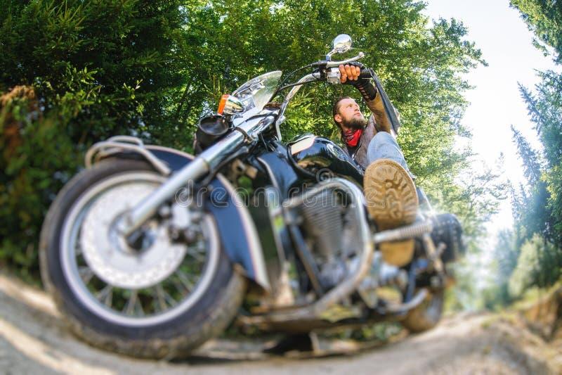 Motociclista que conduz sua motocicleta do cruzador na estrada na floresta imagens de stock