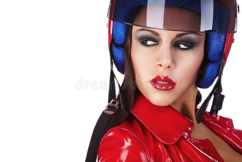 Motociclista 'sexy'. imagens de stock royalty free