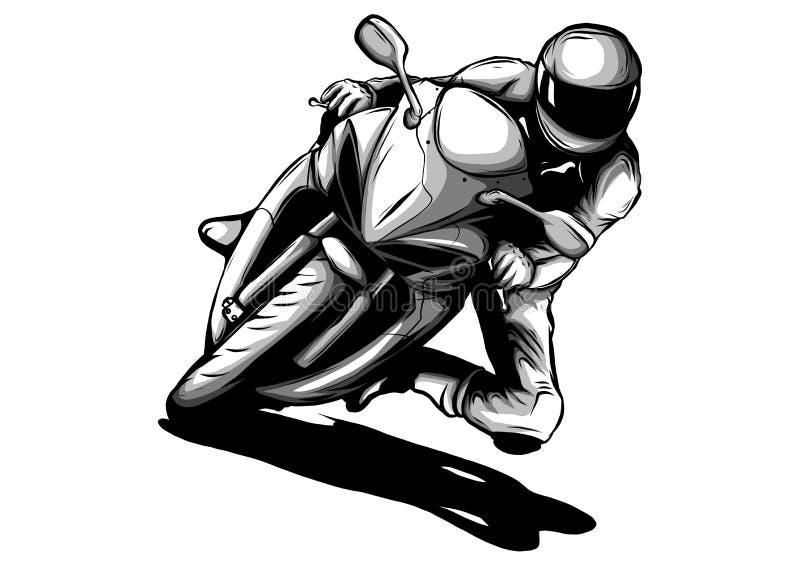 Motociclista, silhueta do vetor do grunge da motocicleta, emblema retro e ilustração da etiqueta ilustração royalty free