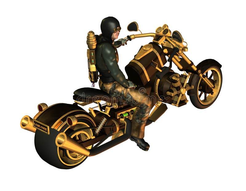Motociclista su un motociclo Steampunk illustrazione di stock