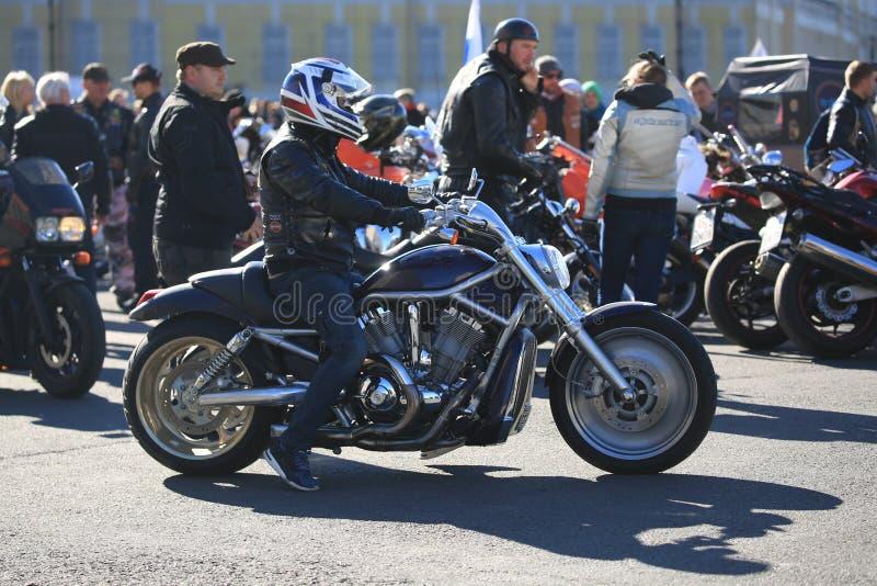 Motociclista su una V-barretta di Harley-Davidson del motociclo fotografia stock libera da diritti