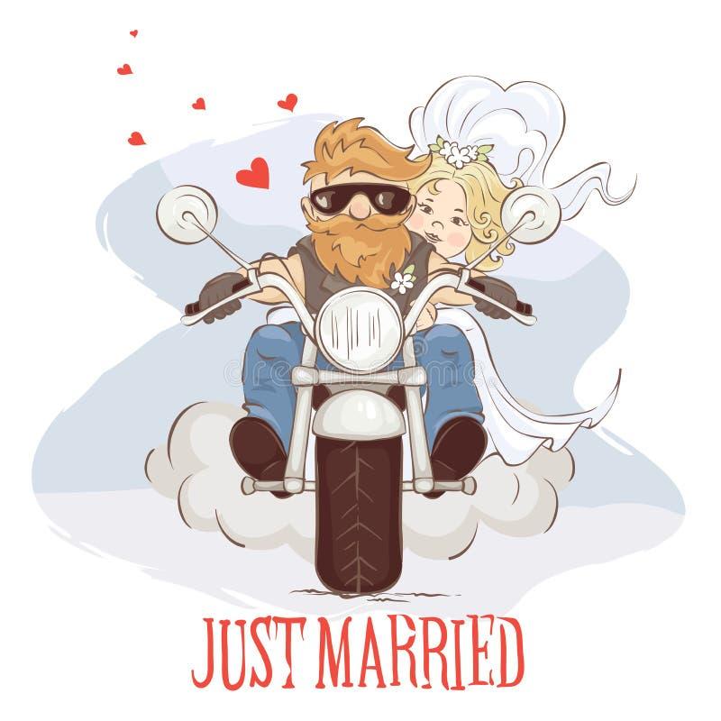 Motociclistas do casamento ilustração royalty free