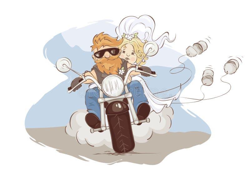 Motociclistas do casamento ilustração stock