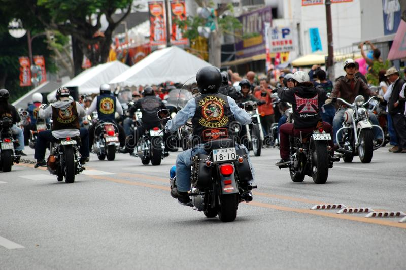 Motociclistas japoneses na parada imagens de stock royalty free