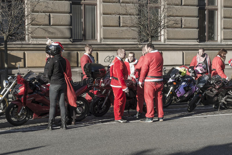 Motociclisti di Santa fotografia stock libera da diritti