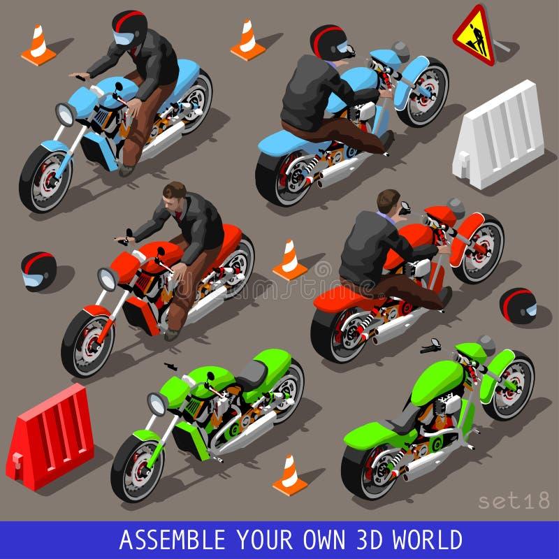 Motociclisti piani isometrici del veicolo 3d messi royalty illustrazione gratis