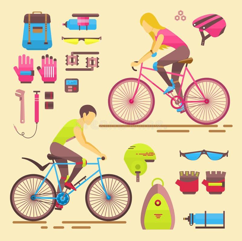 Motociclisti ragazza di sport e la gente del ragazzo sulla donna e sull'uomo di divertimento di attività delle biciclette sulle b illustrazione vettoriale