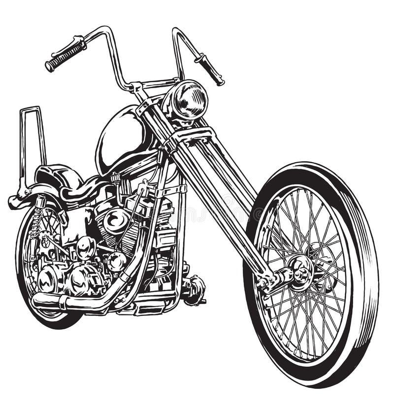 Motociclo americano d'annata disegnato a mano ed inchiostrato del selettore rotante royalty illustrazione gratis
