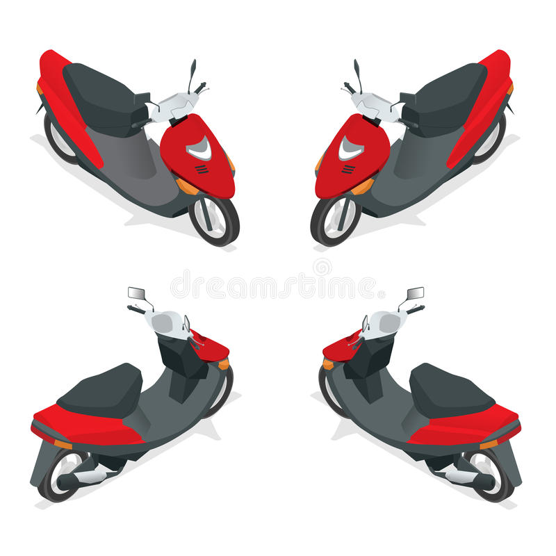 Motociclo, bici, motocicletta, motorino Icona isometrica piana di trasporto della città di alta qualità 3d illustrazione vettoriale