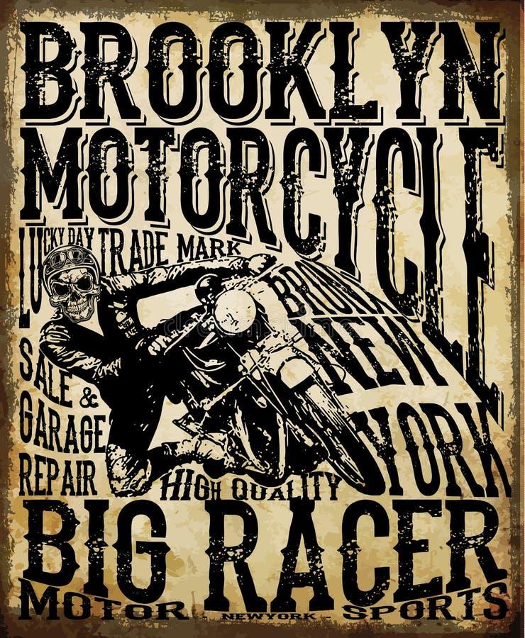 Motociclo che corre i grafici ed il manifesto di tipografia Cranio e vecchio illustrazione vettoriale
