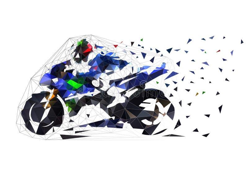 Motociclo che corre, illustrazione poligonale bassa della strada di vettore Motocicletta di vista laterale illustrazione di stock