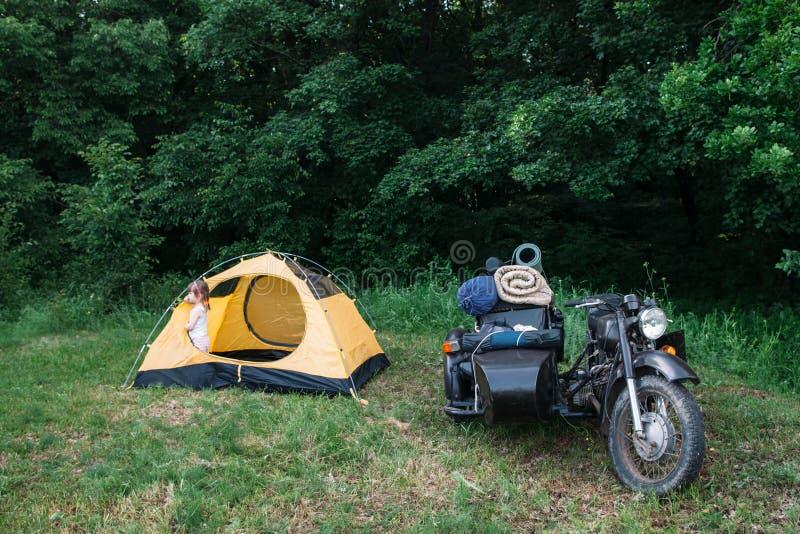 Motociclo con il sidecar parcheggiato su erba verde immagine stock libera da diritti
